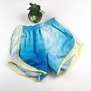 Nike Tempo Blue White Lime Plaid Short Small